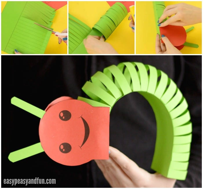 3d Paper Caterpillar Craft With Template Easy Peasy And Fun