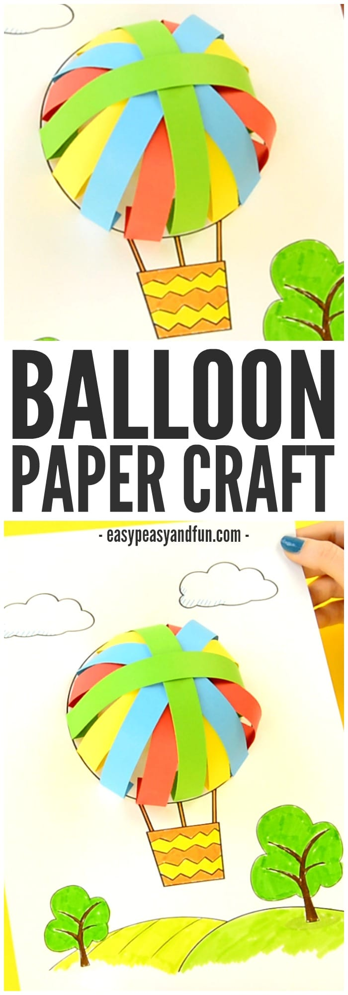 Adorable Printable Hot Air Balloon Paper Craft for Kids