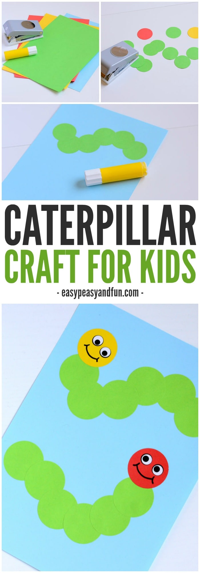 Caterpillar craft paper circle crafts for kids easy for Easy things to make out of paper for kids