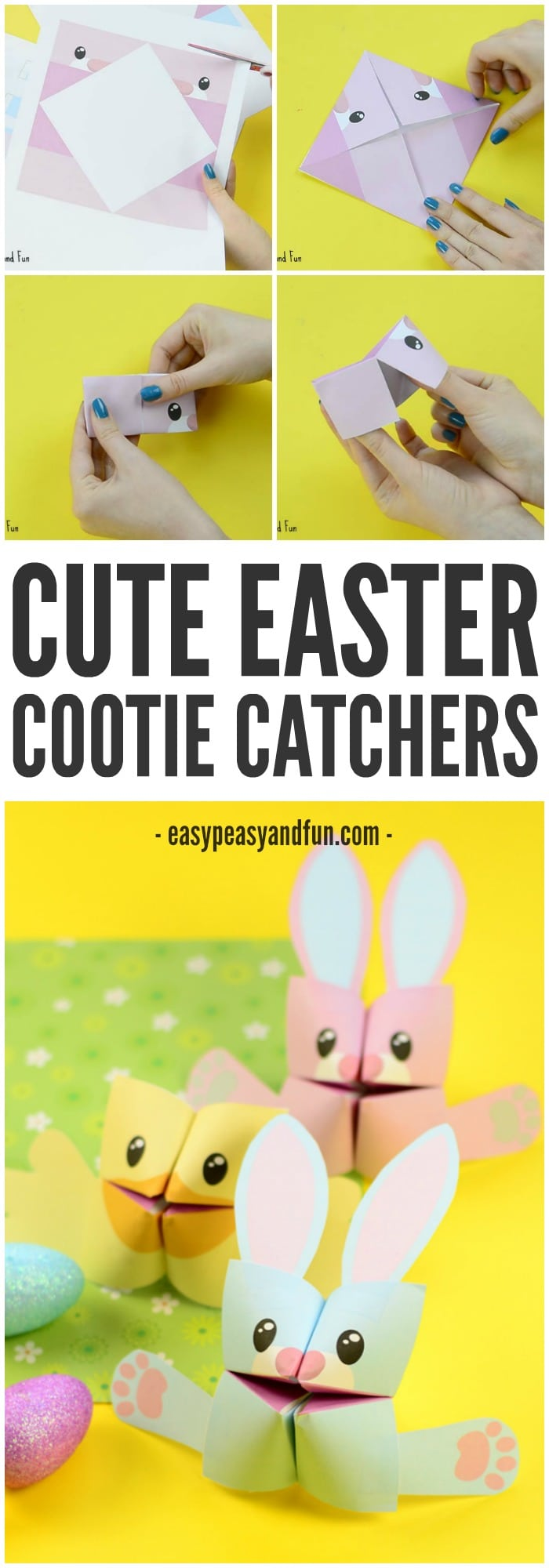 Easter Cootie Catchers Bunny and Chick Origami for Kids Easy – Cootie Catcher Template