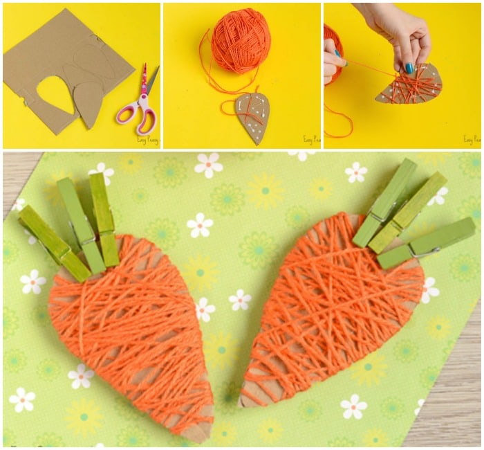 Cute Yarn Wrapped Carrots Craft for Kids