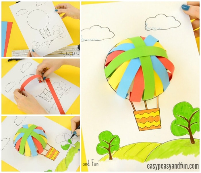 Printable Hot Air Balloon Paper Craft for Kids
