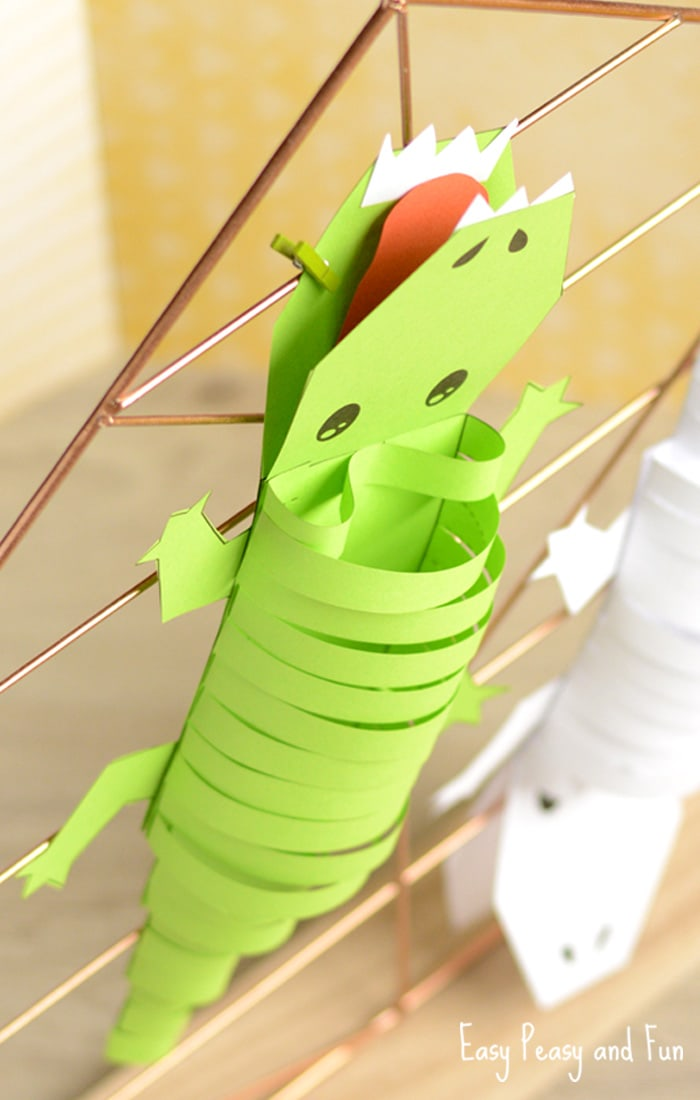 Printable Paper Crocodile Paper Craft for Kids