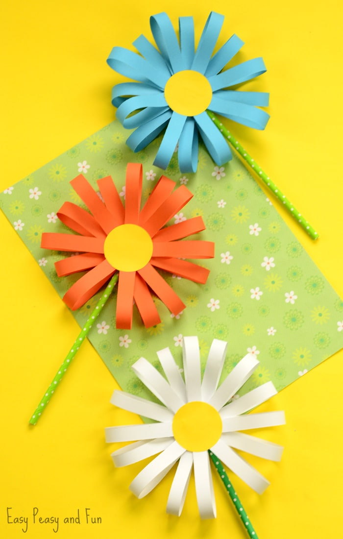 Paper flower craft easy peasy and fun for Simple handicraft project