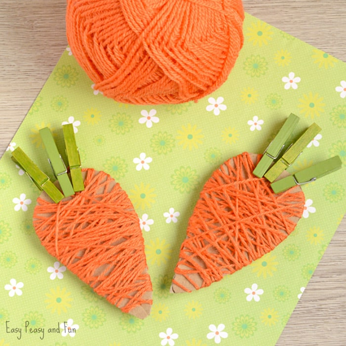Yarn Wrapped Carrots Craft