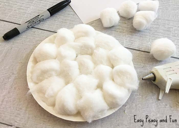 Draw a circle about 3.5-4\u2033 wide with two 1/2-1\u2033 ears (doesn\u0027t need to be exact) for a sheep head from your black paper and glue to the center of your cotton ... & Sheep Paper Plate Craft - Easter Craft Ideas - Easy Peasy and Fun