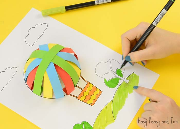 How to make a paper hot air balloon step by