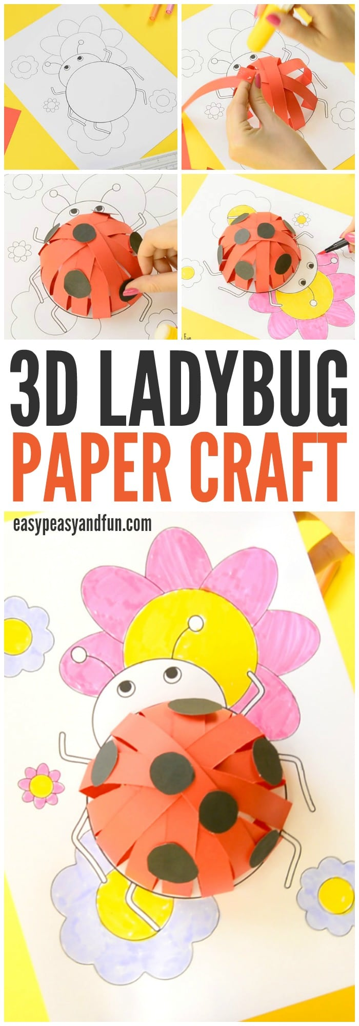 3D Ladybug Paper Craft for Kids to Make With Free Template