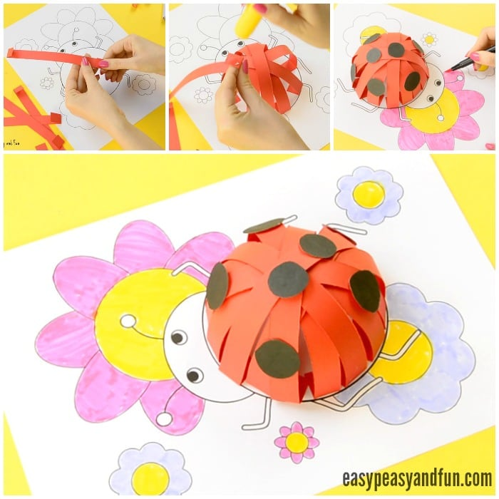 3D Paper Ladybug Craft With Template for Kids to Make