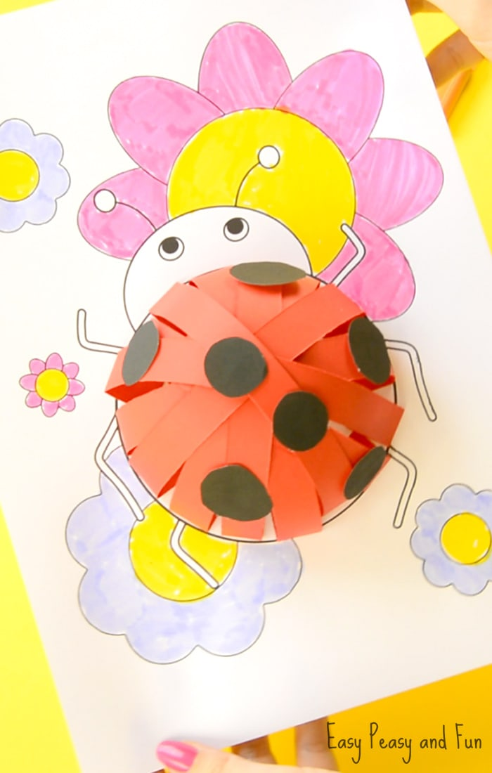 3D Paper Ladybug Craft for Kids With Free Template