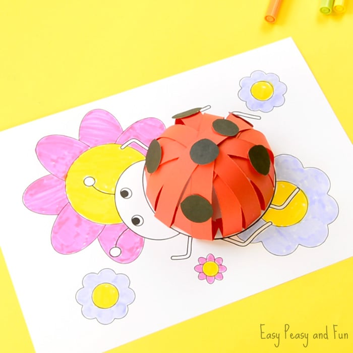 image relating to Printable 3d Paper Crafts identified as 3D Paper Ladybug Craft With Template - Uncomplicated Peasy and Exciting
