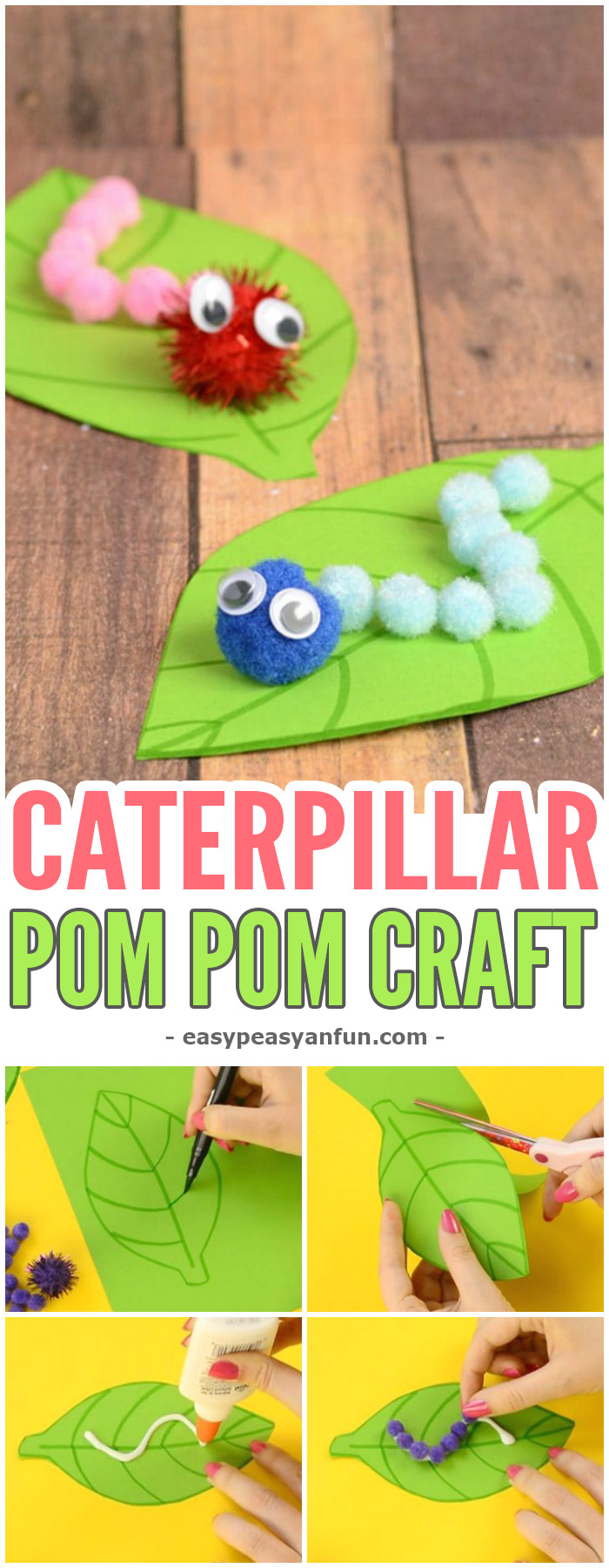 Adorable Caterpillar Pom Pom Craft For Kids #craftsforkids #Springcrafts #activitiesforkids