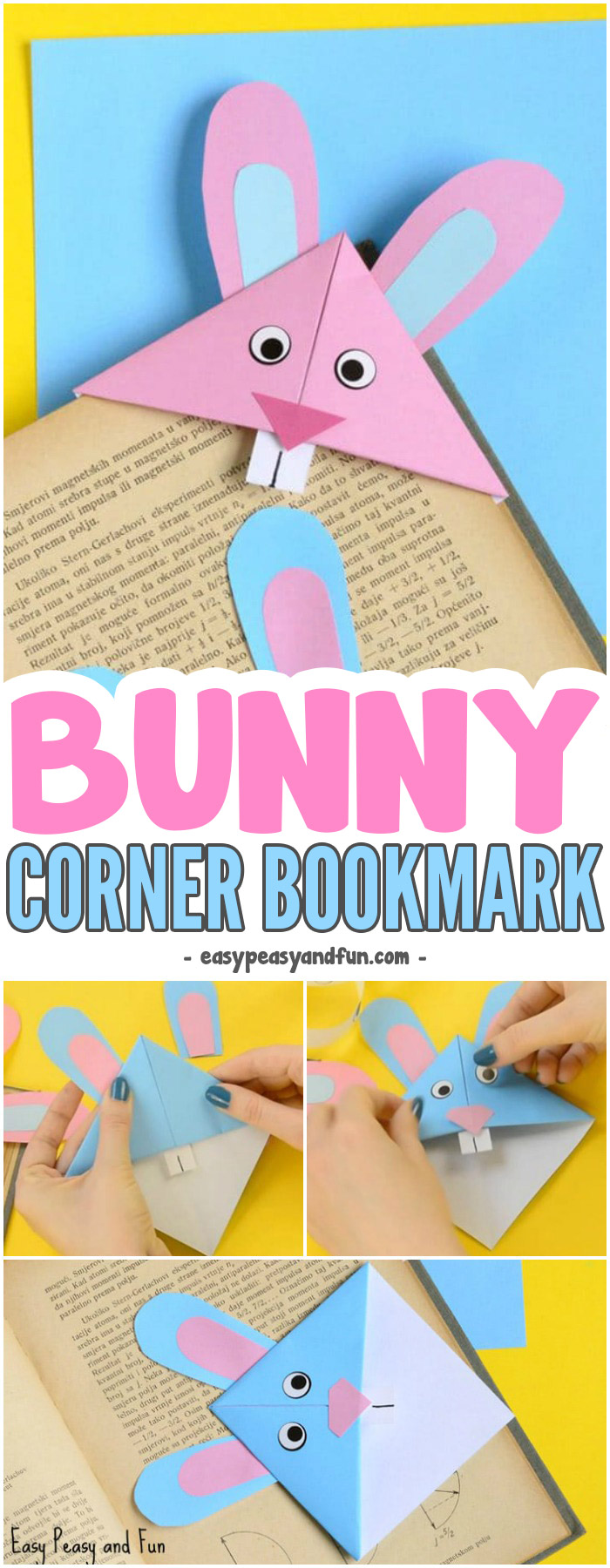 Adorable Easter Bunny Corner Bookmark Craft for Kids #craftsforkids #cornerbookmarkideas #eastercrafts