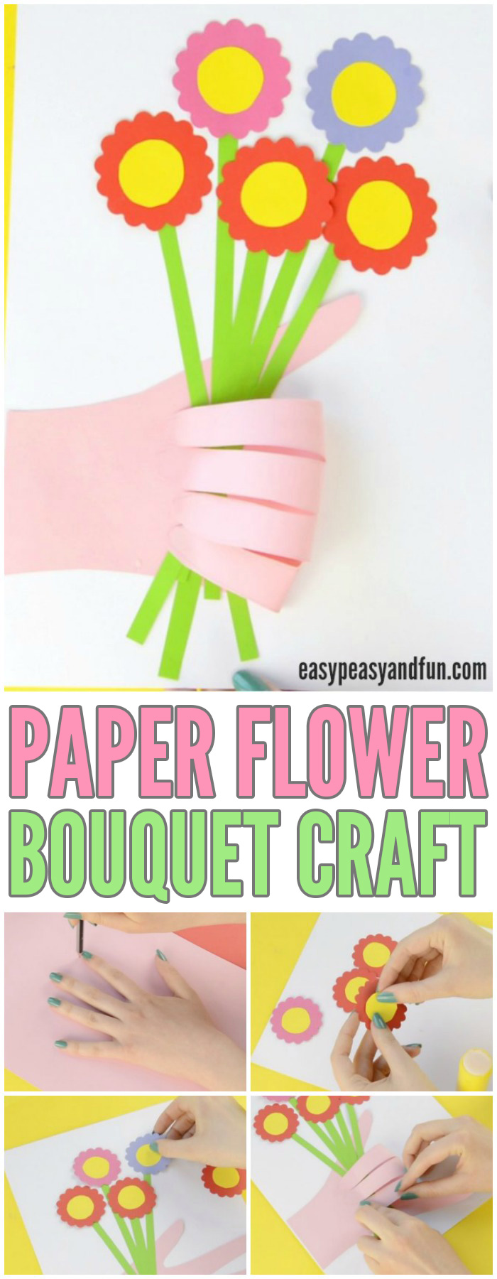 Adorable Handprint Flower Craft for Kids to Make #craftsforkids #Mothersdaycrafts #activitiesforkids