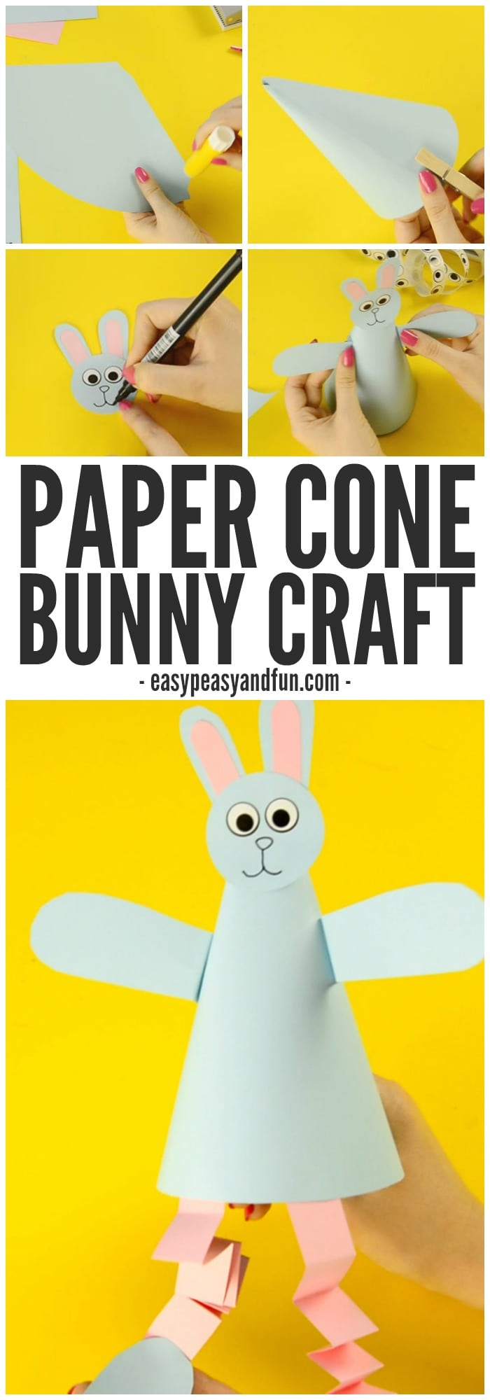 Adorable Paper Cone Bunny Craft for Kids to Make