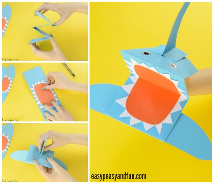 Adorable Shark Paper Hand Puppet Craft for Kids to Make