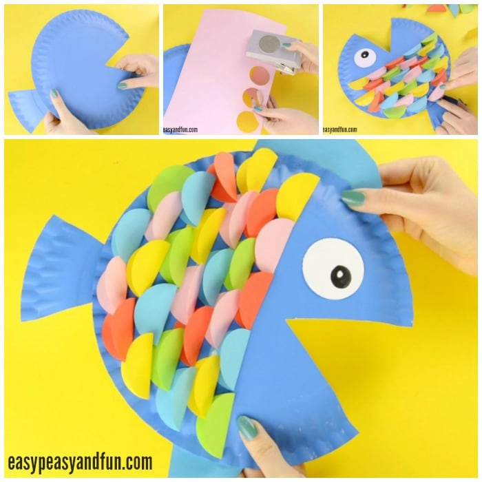 Paper Plate Fish Craft Rainbow Paper Circles Easy Peasy