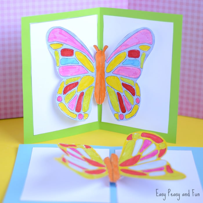 Diy butterfly pop up card with a template easy peasy and fun for Pop up card craft