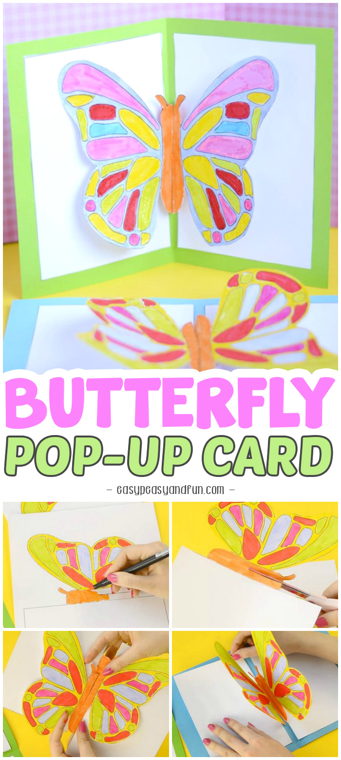Cute Butterfly Pop Up Card Template for Kids to Make #craftsforkids #activitiesforkids #butterflycrafts