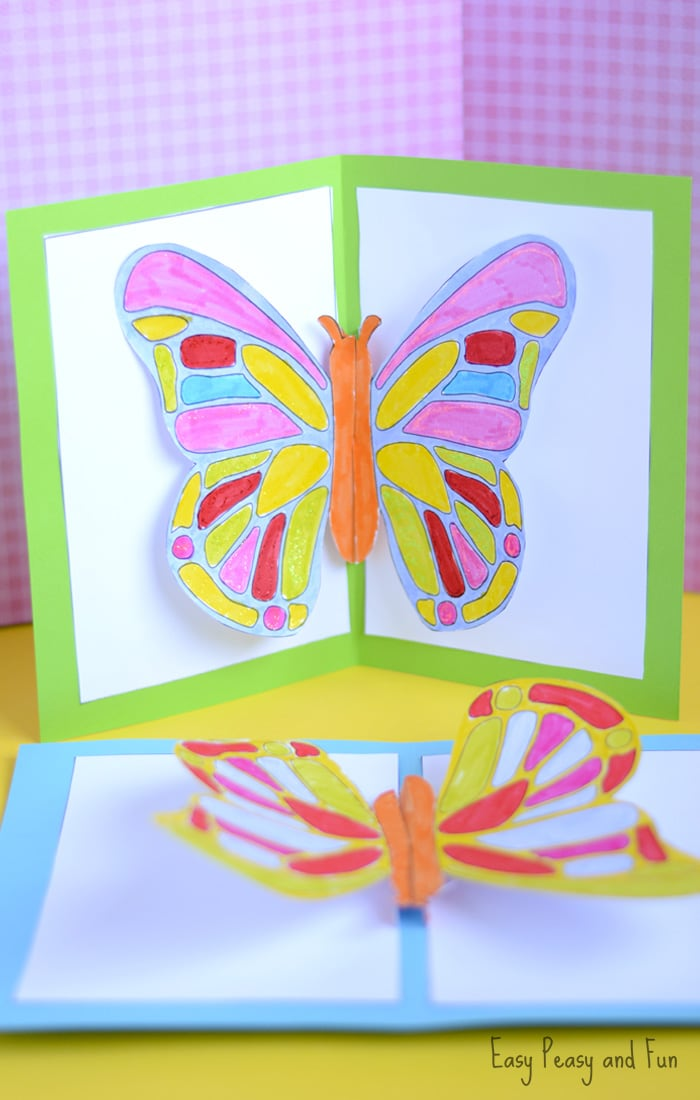 Diy butterfly pop up card with a template easy peasy and fun for Colors that pop out