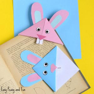 Easter Bunny Corner Bookmark – DIY Origami for Kids