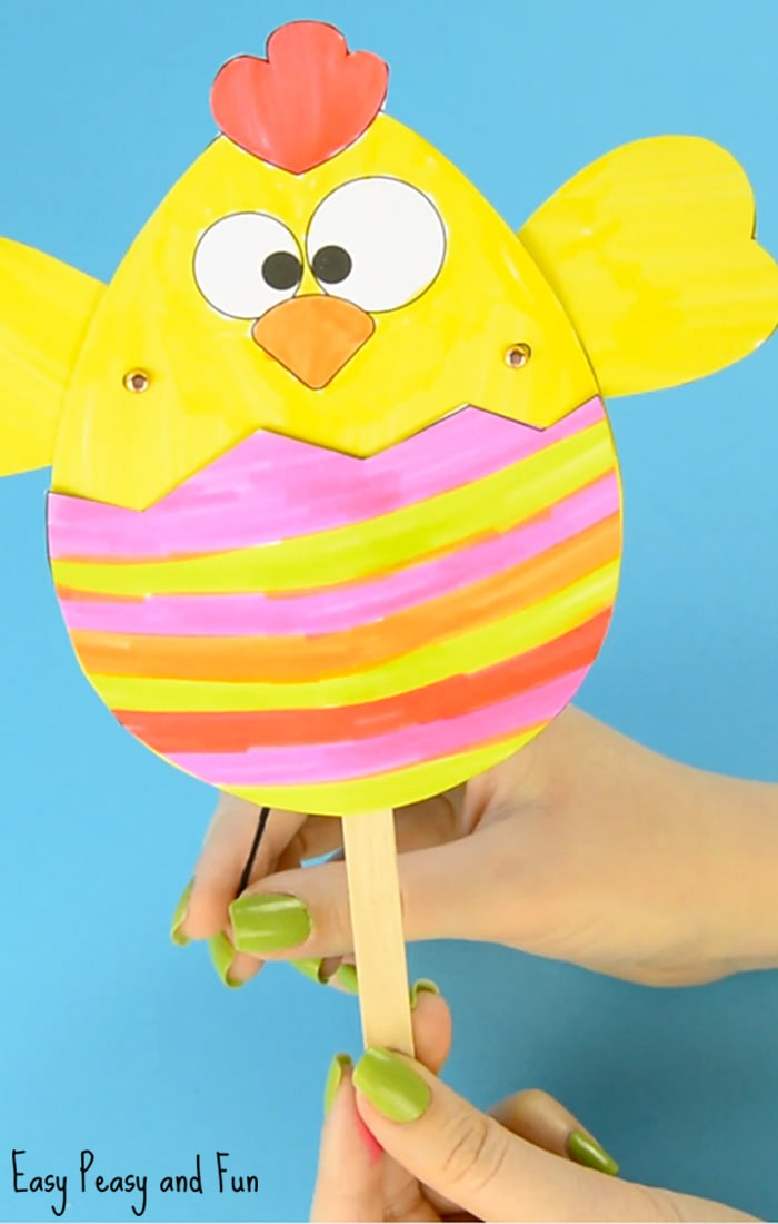 Paper Chick Puppet Craft Template Fun Easter Idea Easy