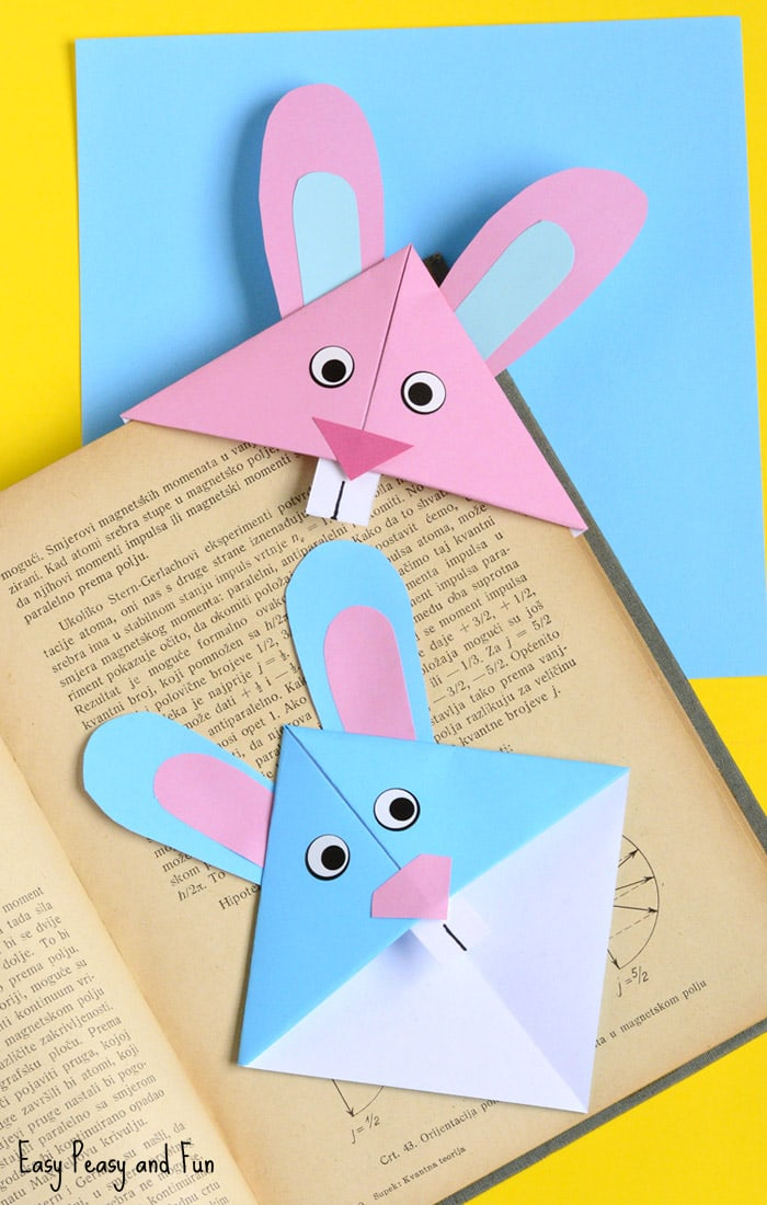 Easter bunny corner bookmark diy origami for kids easy for Art and craft books for kids
