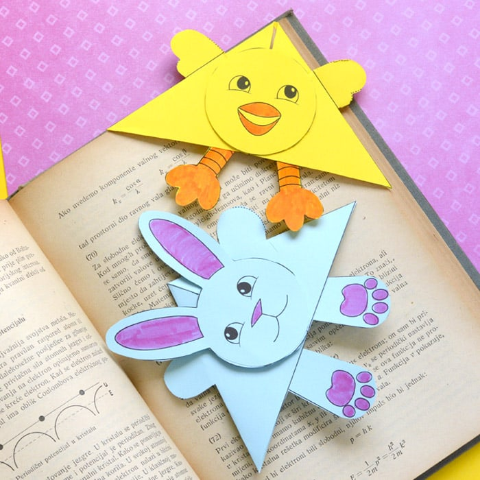 Easter Corner Bookmarks – Bunny And Chick Template
