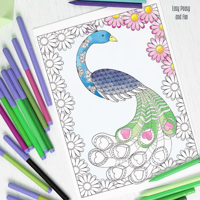 Love peacock coloring page easy peasy and fun for Peacock crafts for adults