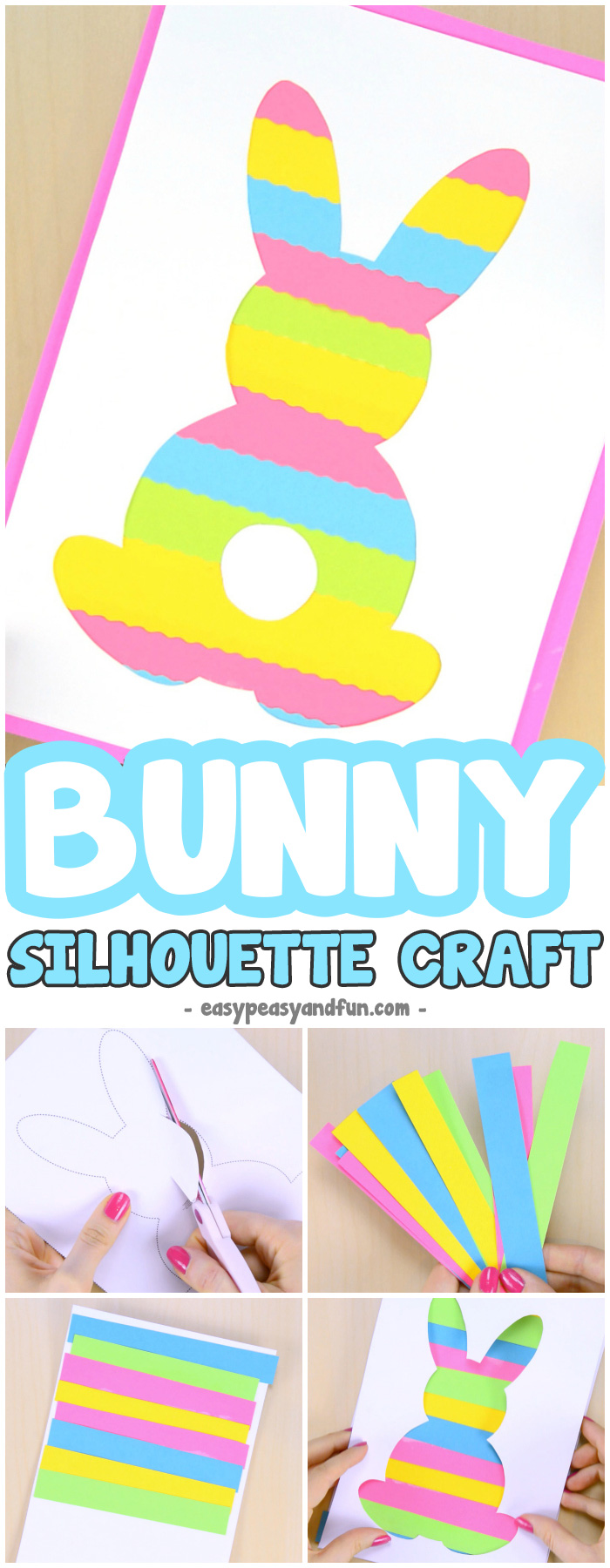 graphic relating to Easter Bunny Printable Template identified as Printable Easter Silhouette Craft - Easter Bunny Template