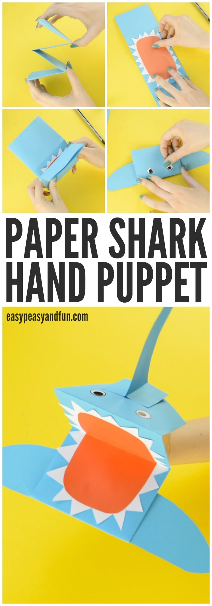 shark paper hand puppet easy peasy and fun shark paper hand puppet craft for kids to make