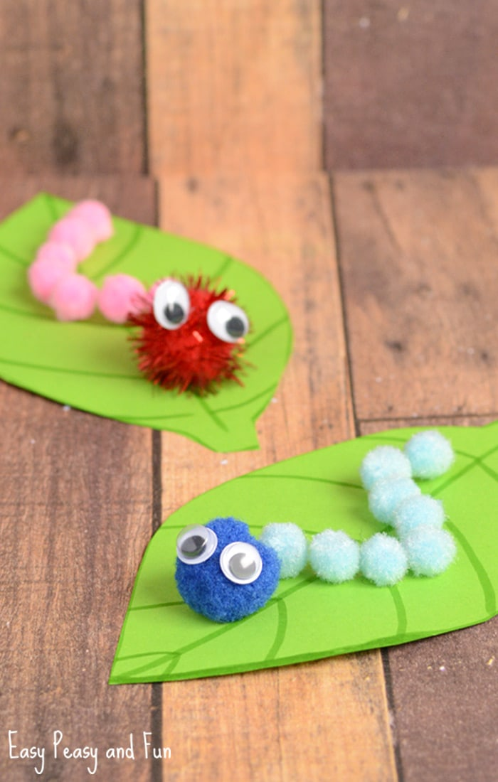 Caterpillar pom pom craft spring craft ideas easy for Cute pom pom crafts