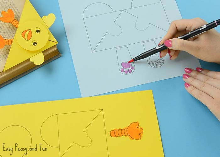 Easter corner bookmarks bunny and chick template easy peasy and fun once everything is colored carefully cut out the corner bookmark template maxwellsz