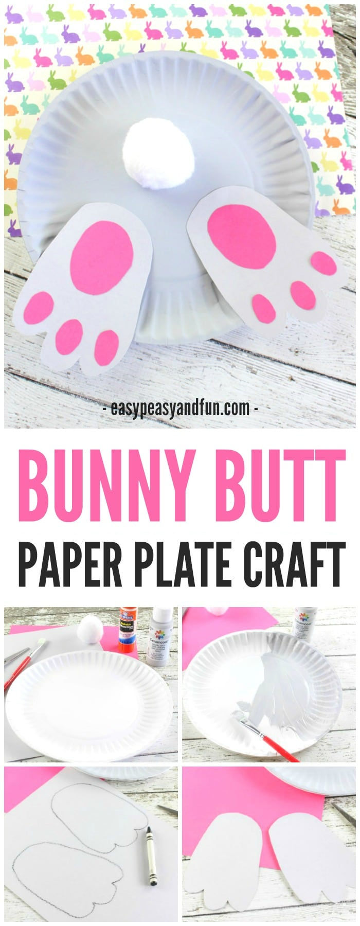 Adorable Bunny Butt Paper Plate Craft for Kids