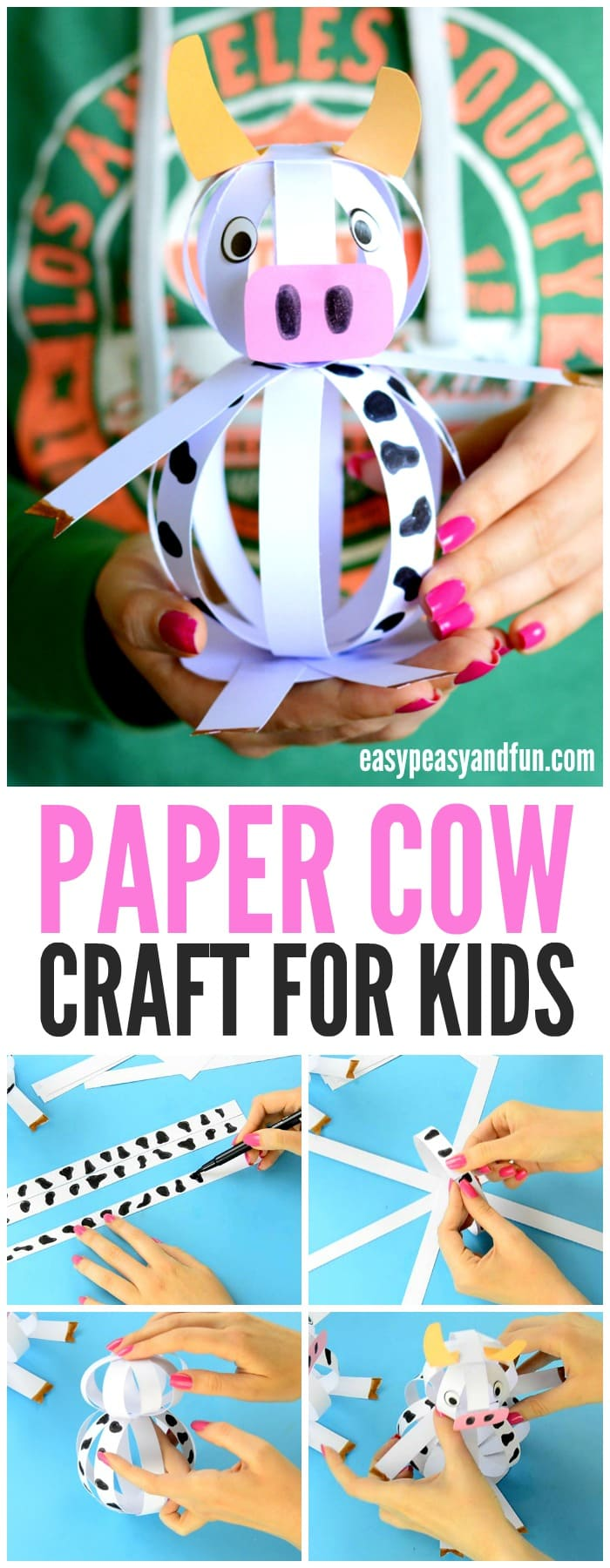 Adorable Easy Paper Cow Craft for Kids to Make