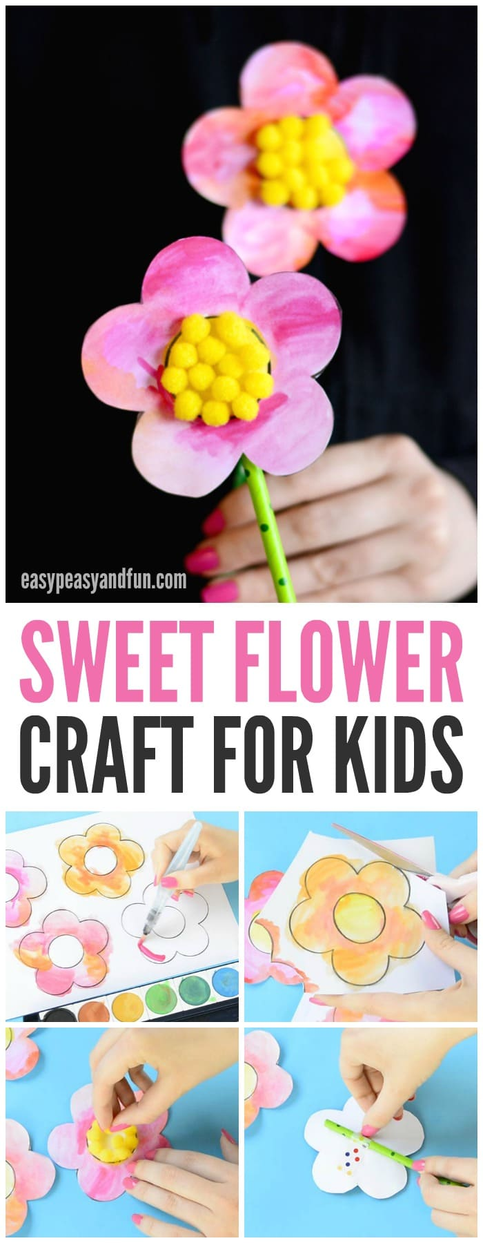 Sweet flower craft with pom poms and printable template for Crafts to make for kids