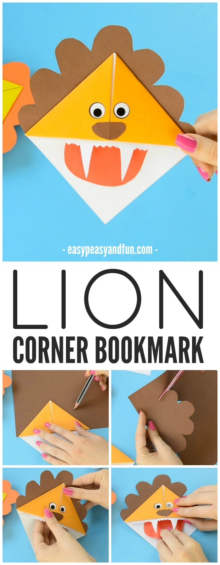 Lion Corner Bookmarks Step By Tutorial Easy Peasy