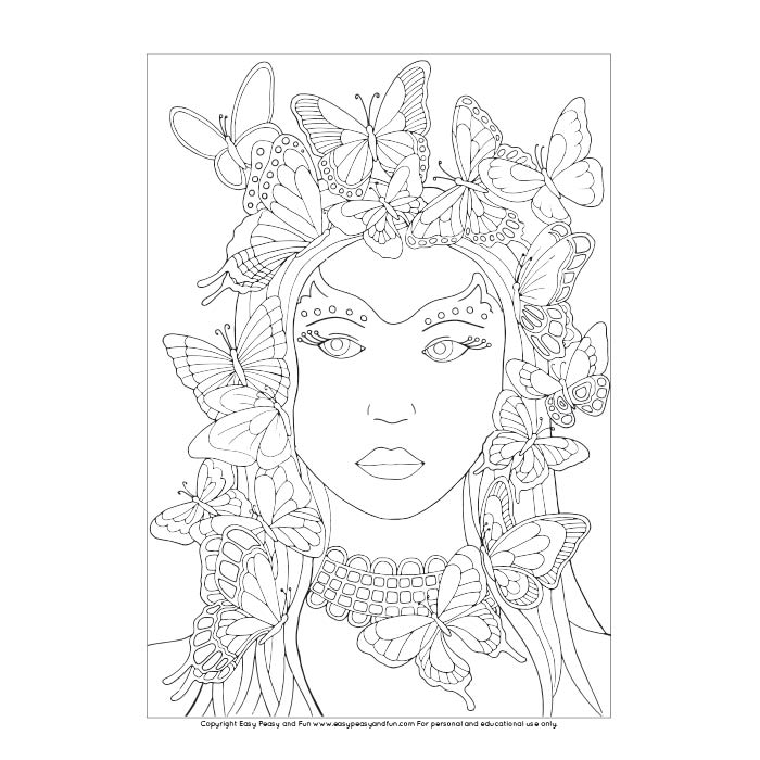 Page: Butterfly Lady Coloring Page