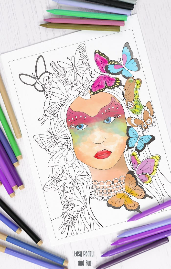 Butterfly Lady Coloring Page