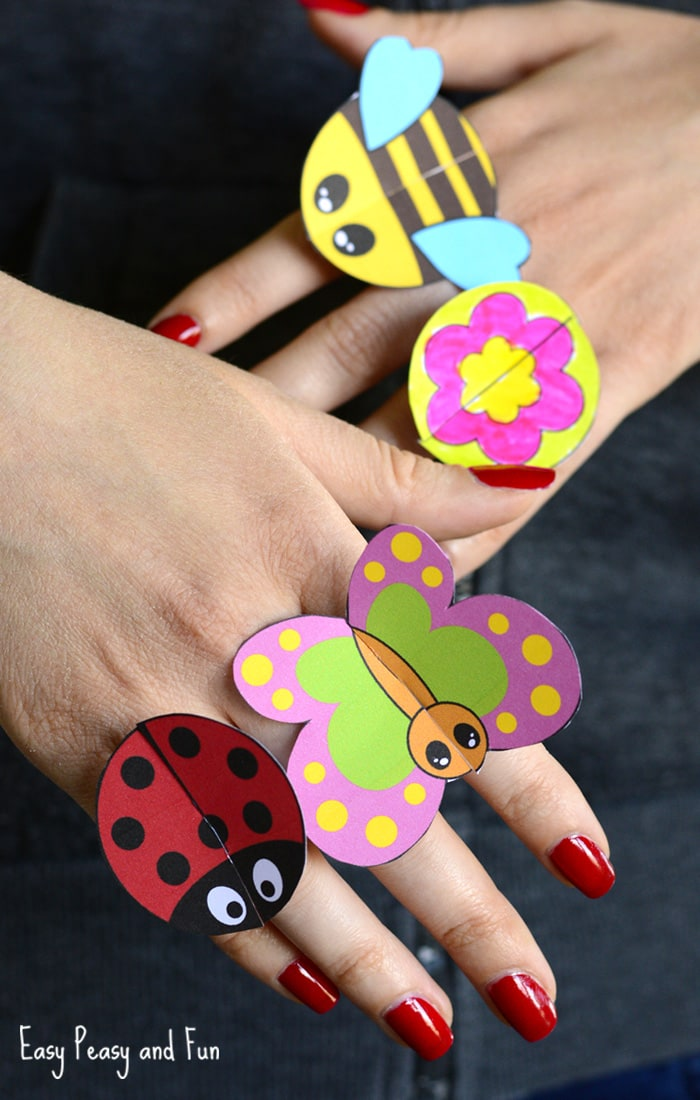 Cute Printable Bug Paper Rings