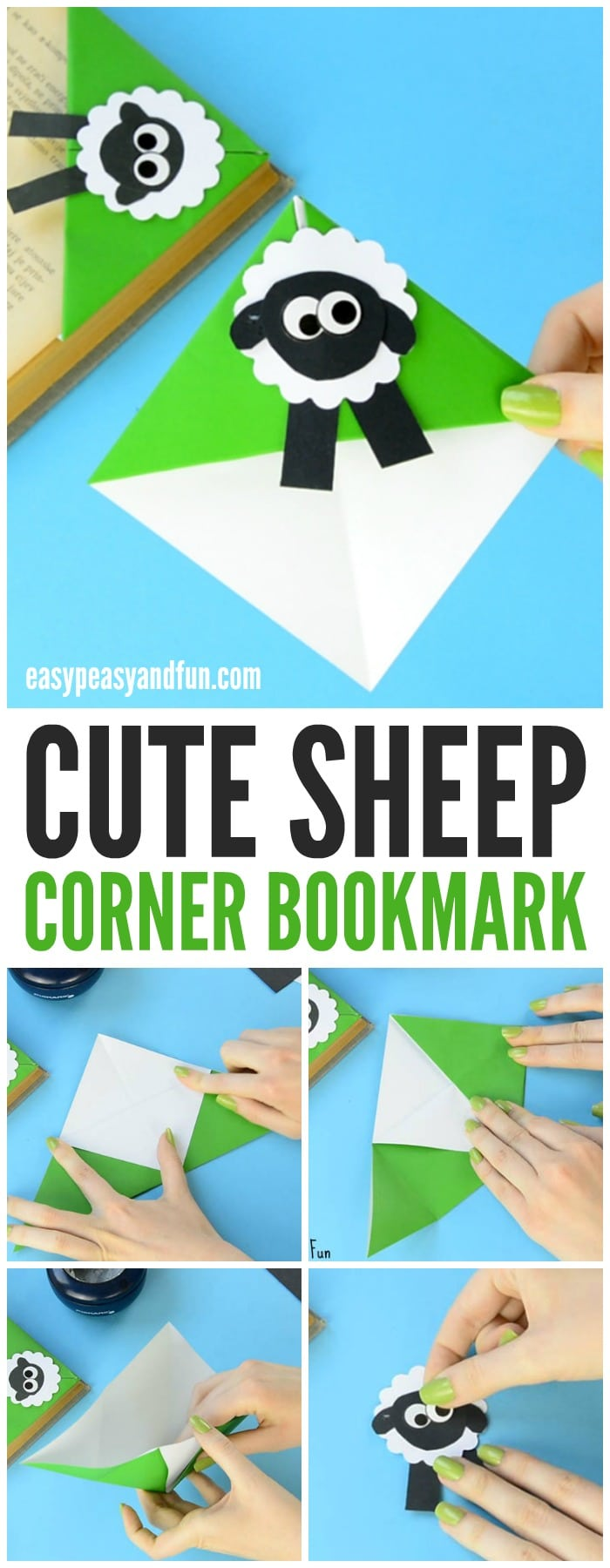 How To Make A Corner Bookmark : Sheep corner bookmark origami for kids easy peasy and fun