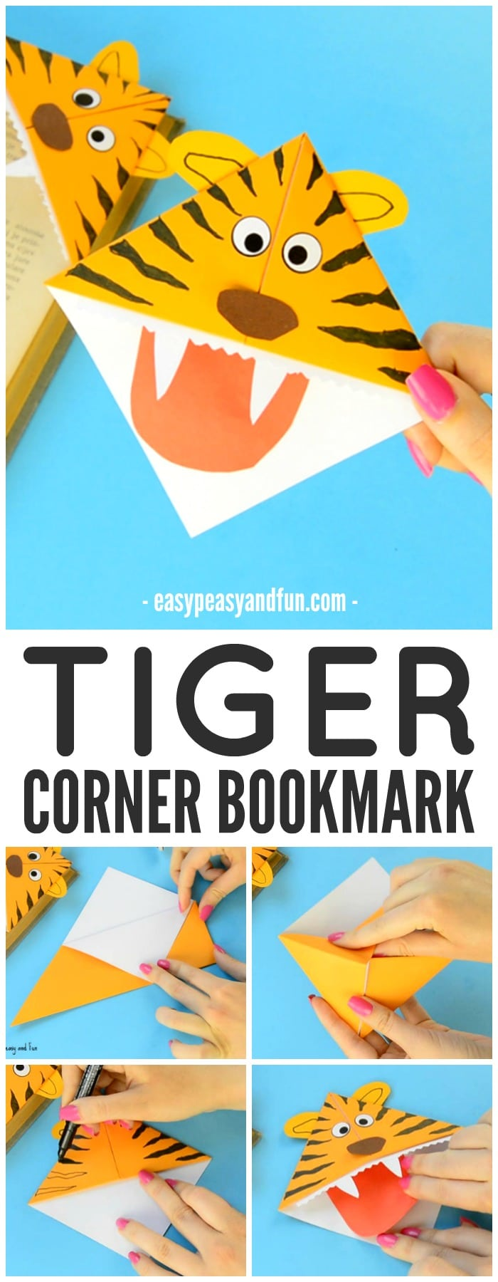 Cute Tiger Corner Bookmarks Craft for Kids