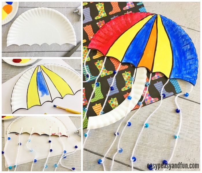 Cute Umbrella Paper Plate Craft