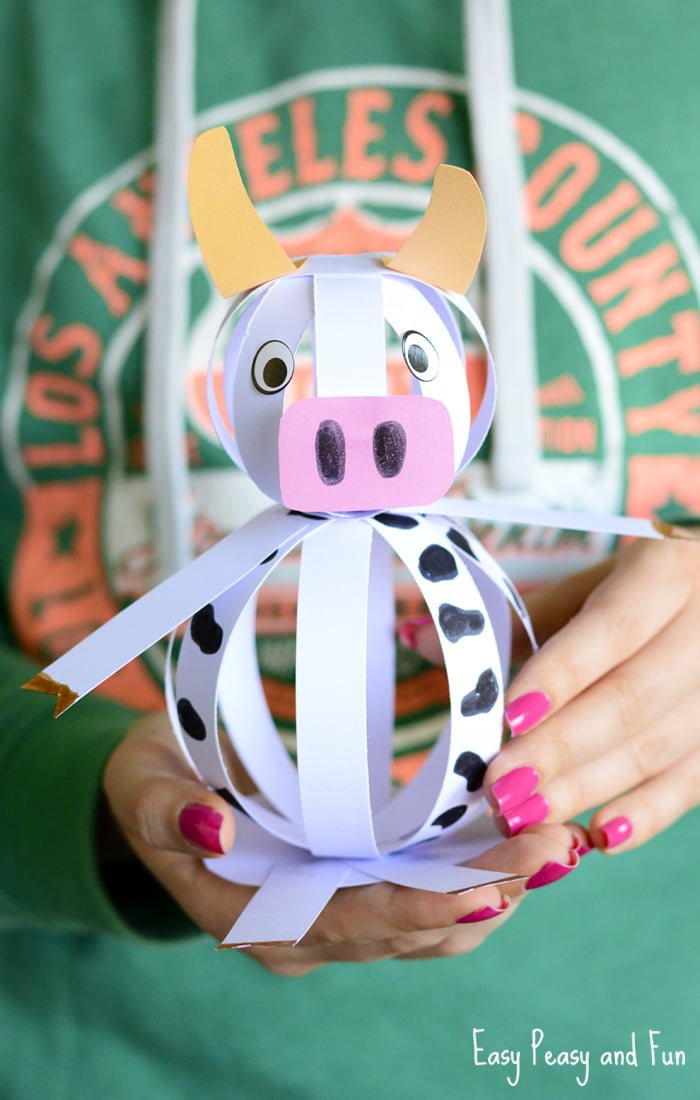 Easy Paper Craft Ideas For Kids Part - 28: Easy Paper Cow Craft For Kids
