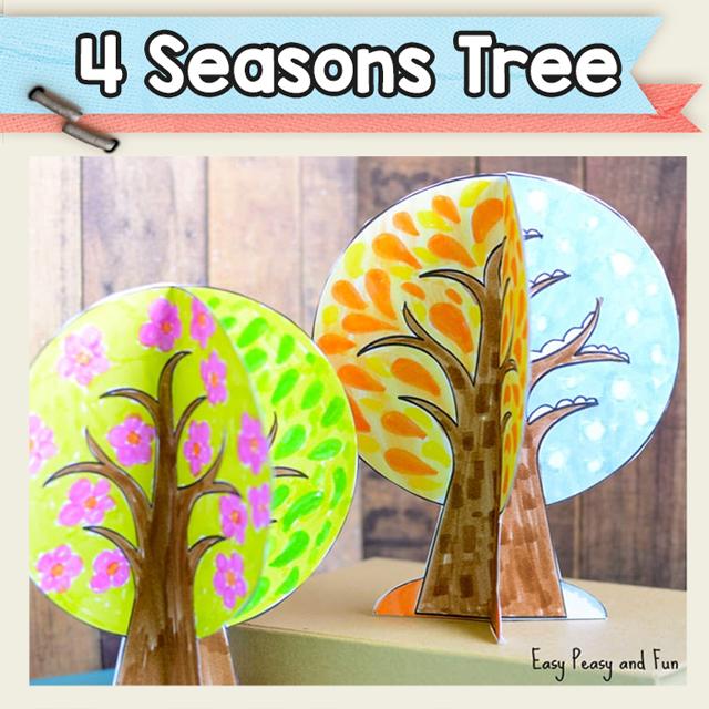 Four Seasons Tree Paper Craft Template