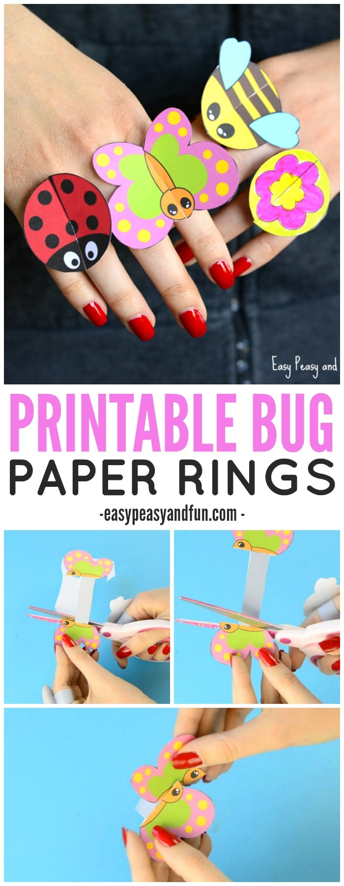 Printable Bug Paper Rings for Kids to Make