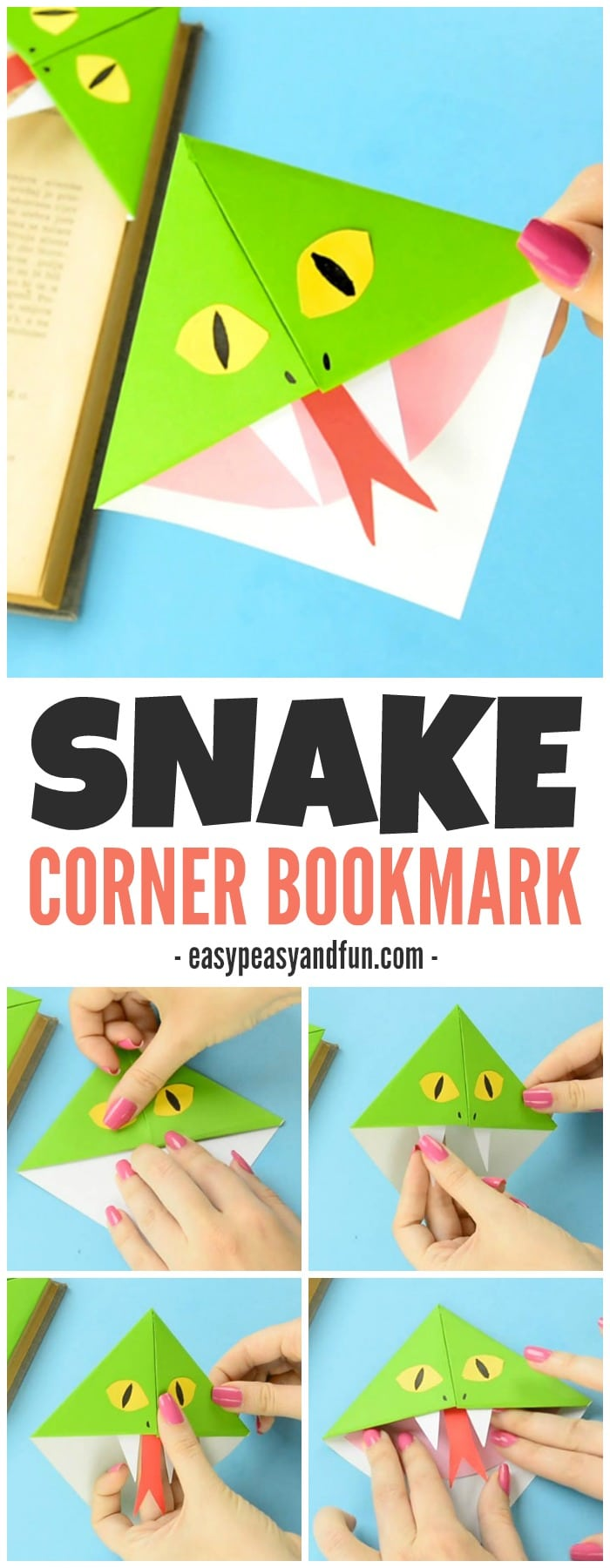 Snake Corner Bookmarks Simple Origami for Kids to Make