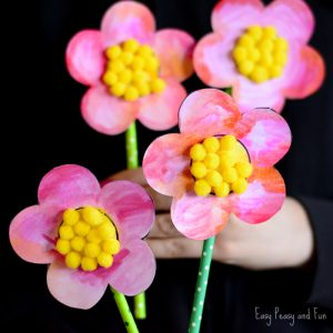 Sweet Flower Craft – With Pom Poms and Printable Template