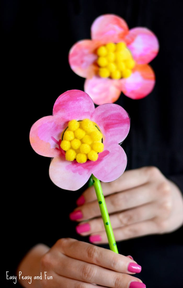 Sweet Flower Craft With Pom Poms And Printable Template