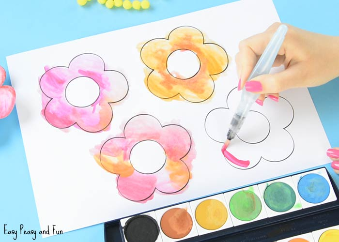 sweet flower craft sweet flower craft with pom poms and printable template 3048